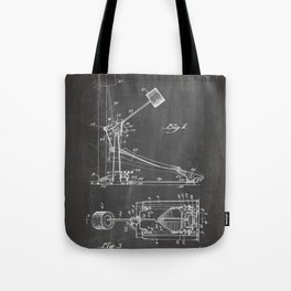 Drum Pedal Patent - Drum Set Art - Black Chalkboard Tote Bag