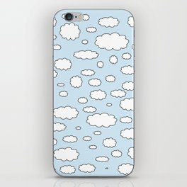 Celestial sky with little clouds of caricatures iPhone Skin
