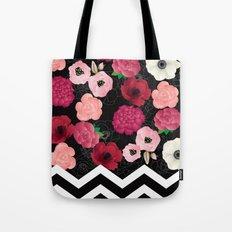 Chevron Flowers Tote Bag