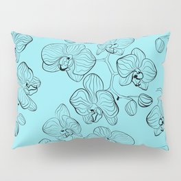 Retro . Orchid flowers on a heavenly blue background . Pillow Sham
