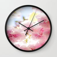 cherry blossom Wall Clocks featuring Cherry Blossom by 2sweet4words Designs