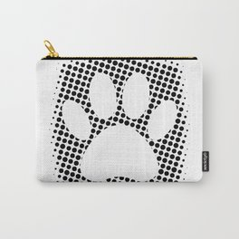Dog Paw Print With Halftone Background Carry-All Pouch