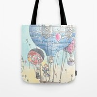 hot air balloon Tote Bags featuring Hot air balloon party by Dreamy Me