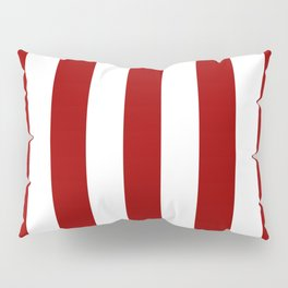 Crimson red - solid color - white vertical lines pattern Pillow Sham