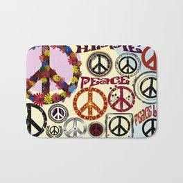 Flower Power Peace Signs Coctail Bath Mat