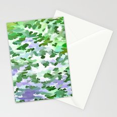 Foliage Abstract In Green and Mauve Stationery Cards