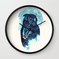 belle Wall Clocks featuring Midnight Owl by Robert Farkas