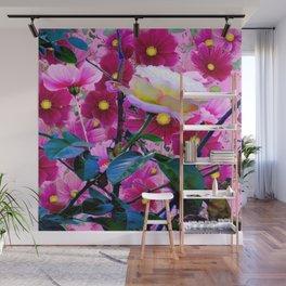YELLOW ROSE GARDEN BEAUTY & PINK COSMOS Wall Mural