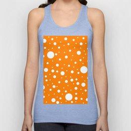 Mixed Polka Dots - White on Orange Unisex Tank Top