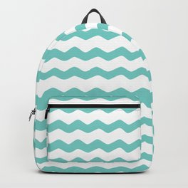 Turquoise Aqua Blue Zig Zag Pattern Backpack
