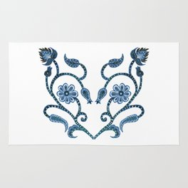 Blue Paisley Heart Rug