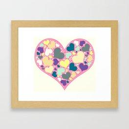 Hearts and Dots Framed Art Print