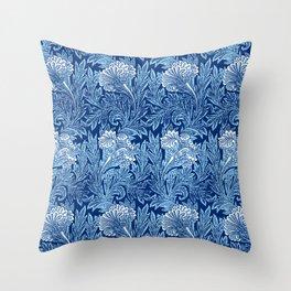 Jacobean Flower Damask, Cobalt and Light Blue Throw Pillow