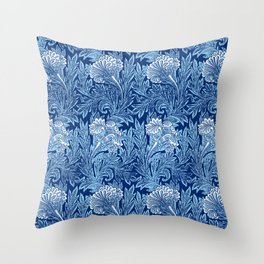 Jacobean Flower Damask, Cobalt and Light Blue Throw Pillow