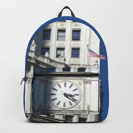 Chicago Clock Tower, American Flags Backpack
