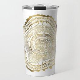 Gold Tree Rings Travel Mug
