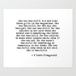 She was beautiful Art Print