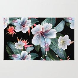 Tropical banana leaf, hibiscus vintage style, Hawaiian decor, retro Rug
