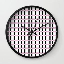 symetric tartan and gingham 28 -vichy, gingham,strip,square,geometric, sober,tartan Wall Clock