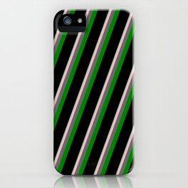 Vibrant Aquamarine, Light Pink, Dim Gray, Green & Black Colored Lined/Striped Pattern iPhone Case