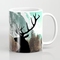 antlers Mugs featuring Antlers by Chetna Shetty