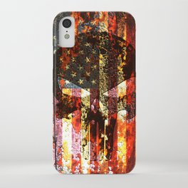 Skull on Rusted American Flag iPhone Case