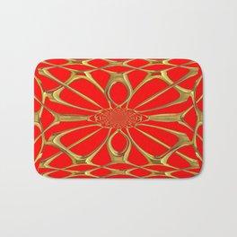 Modernistic Red-Gold Metallic Floral Web Art Design Bath Mat