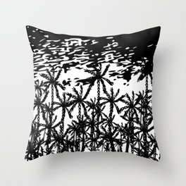Black white abstract tropical palm tree art Throw Pillow