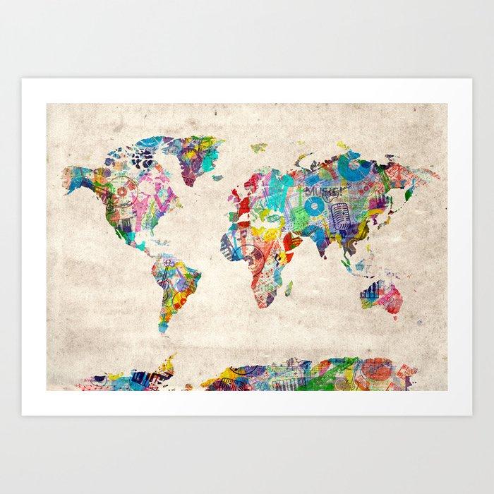 world map music art Art Print