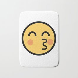 Smiley Face   Kissing Face With Red Cheeks Bath Mat