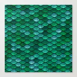 Green Penny Scales Canvas Print