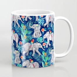 Elephants and Parrots in Indigo Blue Coffee Mug
