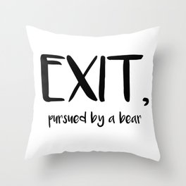 Exit, pursured by a bear - Shakespeare Throw Pillow