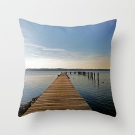 Pier on the river - minimalist landscape photography | Severn River, MD Throw Pillow