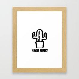 """""""Free Hugs"""" Cactus Illustration Black and White Framed Art Print"""