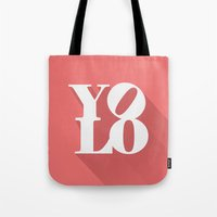 yolo Tote Bags featuring YOLO by tomodachi
