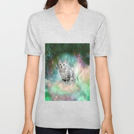 Purrsia Kitty Cat in the Emerald Nebula of Innocence Unisex V-Neck