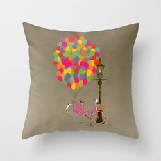 Love to Ride my Bike with Balloons even if it's not practical. Throw Pillow