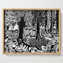 Landscape Art Gifts B & W Forest Art Print Serving Tray