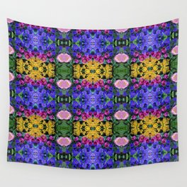 Floral Spectacular: Blue, Plum, Gold - square repeating pattern, Olbrich Botanical Gardens, Madison Wall Tapestry