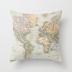 Vintage Map of The World (1892) Throw Pillow