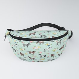 Horses and Small Flowers, Mint Blue, Horse Decor, Floral Print, Horse Art Fanny Pack