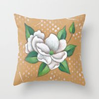 magnolia Throw Pillows featuring Magnolia by Judy Skowron