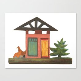 pink house with chickens Canvas Print