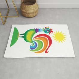 Rainbow Rooster Rug
