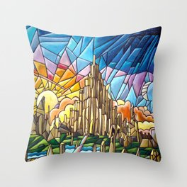 Asgard stained glass style Throw Pillow