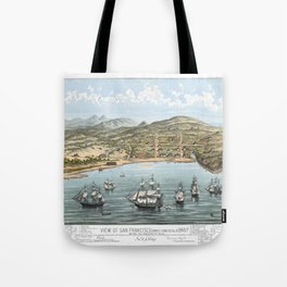 SAN FRANCISCO CALIFORNIA city old map Father Day art print poster Tote Bag