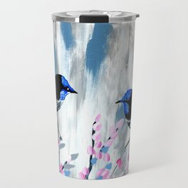 Pink and Grey prints with cherry blossom Travel Mug