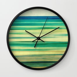 stripes of blue and green Wall Clock
