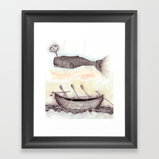 Whale Ship Framed Art Print